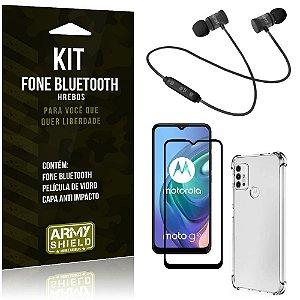 Kit Moto G10 Fone Bluetooth KD901 + Capa Anti Impacto + Película Vidro 3D - Armyshield