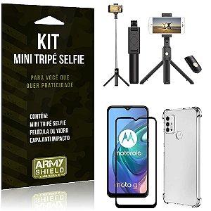 Kit Moto G10 Mini Tripé Selfie Bluetooth para + Capa Anti Impacto + Película 3D - Armyshield