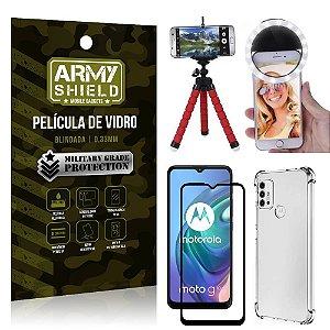Kit Moto G10 Tripé Flex + Flash Ring + Capa Anti Impacto + Película 3D - Armyshield