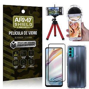 Kit Moto G60 Tripé Flex + Flash Ring + Capa Anti Impacto + Película 3D - Armyshield
