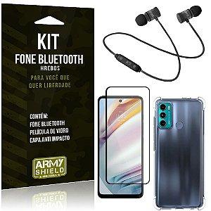 Kit Moto G60 Fone Bluetooth KD901 + Capa Anti Impacto + Película Vidro 3D - Armyshield