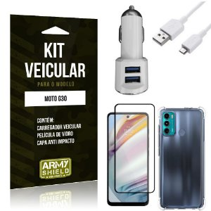 Kit Moto G60 Carregador Veicular Tipo C + Capa Anti Impacto + Película Vidro 3D - Armyshield