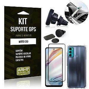 Kit Moto G60 Suporte Veicular Magnético + Capa Anti Impacto + Película Vidro 3D - Armyshield