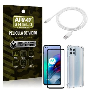 Kit Moto G100 5G Cabo USB Tipo C 2m + Capa Anti Impacto + Película Vidro 3D - Armyshield