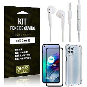 Kit Moto G100 5G Fone de Ouvido + Capa Anti Impacto + Película Vidro 3D - Armyshield