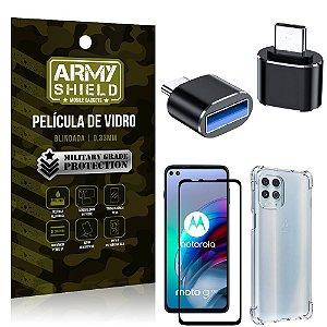 Kit Moto G100 5G Adaptador OTG Tipo C para USB + Capa Anti Impacto + Película 3D - Armyshield