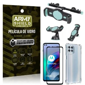 Kit Moto G100 5G Suporte Veicular 3 em 1 + Película 3D + Capa Anti Impacto - Armyshield
