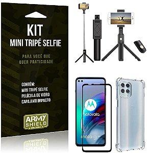 Kit Moto G100 5G Mini Tripé Selfie Bluetooth para + Capa Anti Impacto + Película 3D - Armyshield