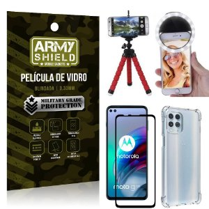 Kit Moto G100 5G Tripé Flex + Flash Ring + Capa Anti Impacto + Película 3D - Armyshield