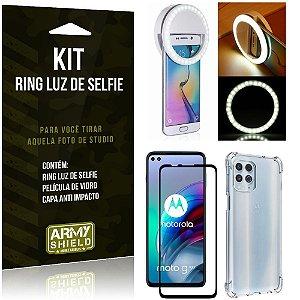Kit Moto G100 5G Flash Ring + Capa Anti Impacto + Película de Vidro 3D - Armyshield