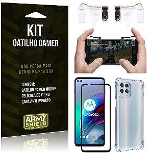 Kit Moto G100 5G Gatilho Gamer + Capa Anti Impacto + Película Vidro 3D - Armyshield