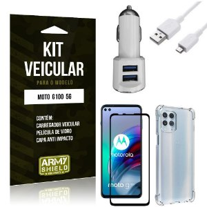 Kit Moto G100 5G Carregador Veicular Tipo C + Capa Anti Impacto + Película Vidro 3D - Armyshield