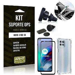Kit Moto G100 5G Suporte Veicular Magnético + Capa Anti Impacto + Película Vidro 3D - Armyshield