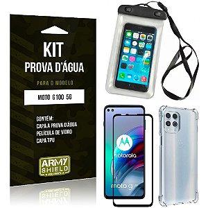 Kit Moto G100 5G Capinha Prova D'água + Capa Anti Impacto + Película 3D - Armyshield