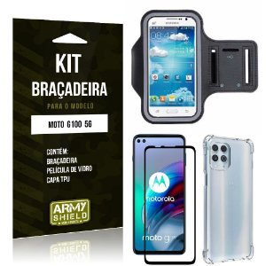 Kit Moto G100 5G Braçadeira + Capinha Anti Impacto + Película de Vidro 3D - Armyshield