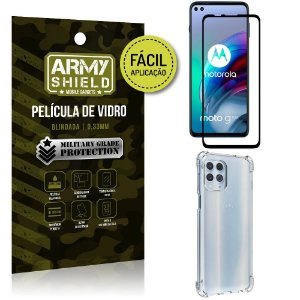 Kit Moto G100 5G Película 3D Fácil Aplicação + Capa Anti Impacto - Armyshield