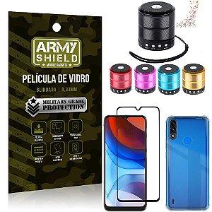Kit Moto E7 Power Mini Som Bluetooth + Capa Anti Impacto + Película Vidro 3D - Armyshield