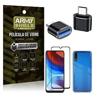 Kit Moto E7 Power Adaptador OTG Tipo C para USB + Capa Anti Impacto + Película 3D - Armyshield