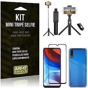 Kit Moto E7 Power Mini Tripé Selfie Bluetooth para + Capa Anti Impacto + Película 3D - Armyshield