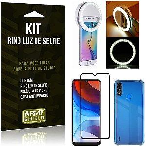 Kit Moto E7 Power Flash Ring + Capa Anti Impacto + Película de Vidro 3D - Armyshield