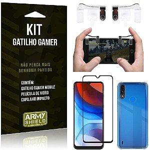 Kit Moto E7 Power Gatilho Gamer + Capa Anti Impacto + Película Vidro 3D - Armyshield