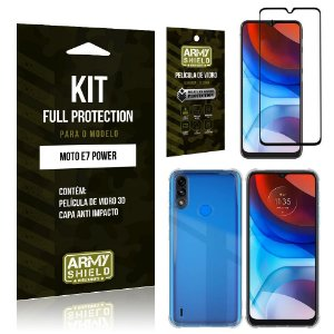 Kit Moto E7 Power Full Protection com Película de Vidro 3D + Capa Anti Impacto - Armyshield