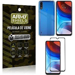 Kit Moto E7 Power Capinha Anti Impacto + Película de Vidro 3D - Armyshield