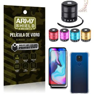Kit Moto E7 Plus Mini Som Bluetooth + Capa Anti Impacto + Película Vidro 3D - Armyshield