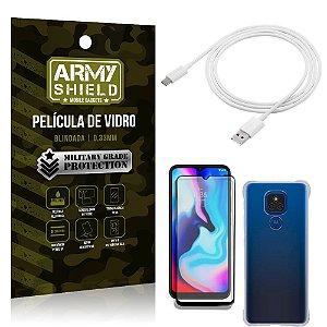 Kit Moto E7 Plus Cabo Micro USB 2m + Capa Anti Impacto + Película Vidro 3D - Armyshield
