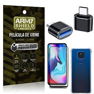 Kit Moto E7 Plus Adaptador OTG Micro para USB + Capa Anti Impacto + Película 3D - Armyshield