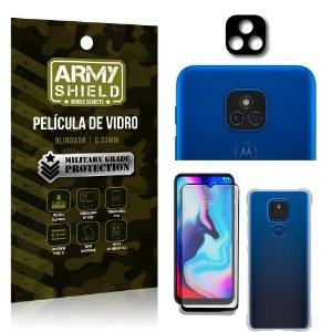 Kit Moto E7 Plus Película de Câmera + Película 3D + Capa Anti Impacto - Armyshield