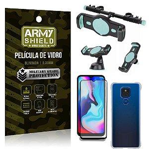 Kit Moto E7 Plus Suporte Veicular 3 em 1 + Película 3D + Capa Anti Impacto - Armyshield