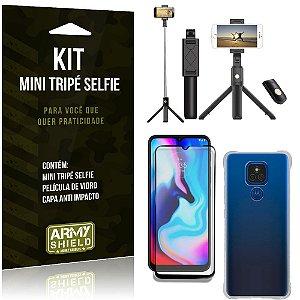 Kit Moto E7 Plus Mini Tripé Selfie Bluetooth para + Capa Anti Impacto + Película 3D - Armyshield