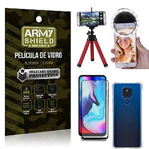 Kit Moto E7 Plus Tripé Flex + Flash Ring + Capa Anti Impacto + Película 3D - Armyshield