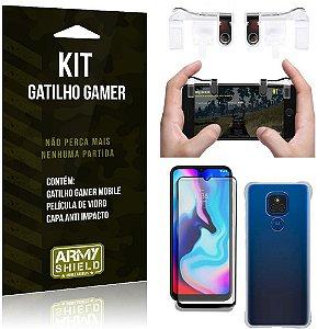 Kit Moto E7 Plus Gatilho Gamer + Capa Anti Impacto + Película Vidro 3D - Armyshield