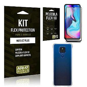 Kit Moto E7 Plus Flex Protection com Película Flex + Capa Anti Impacto - Armyshield