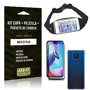 Kit Moto E7 Plus Pochete + Capinha Anti Impacto + Película de Vidro 3D - Armyshield