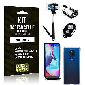 Kit Moto E7 Plus Bastão de Selfie Bluetooth + Capinha Anti Impacto + Película Vidro 3D - Armyshield