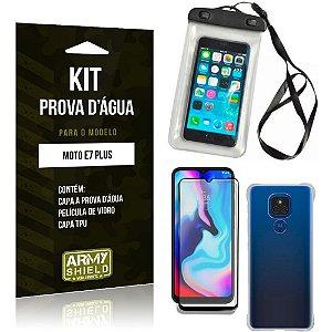 Kit Moto E7 Plus Capinha Prova D'água + Capa Anti Impacto + Película 3D - Armyshield