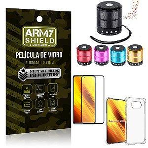 Kit Poco X3 Mini Som Bluetooth + Capa Anti Impacto + Película Vidro 3D - Armyshield