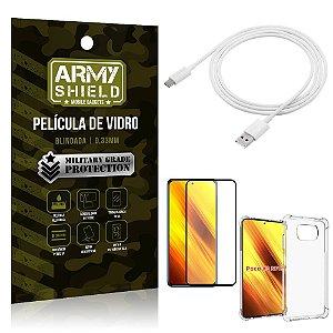 Kit Poco X3 Cabo USB Tipo C 2m + Capa Anti Impacto + Película Vidro 3D - Armyshield