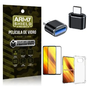 Kit Poco X3 Adaptador OTG Tipo C para USB + Capa Anti Impacto + Película 3D - Armyshield