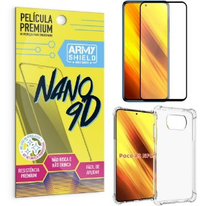 Kit Poco X3 Película Premium Nano 9D + Capa Anti Impacto - Armyshield