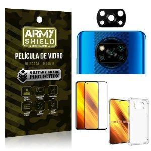 Kit Poco X3 Película de Câmera + Película 3D + Capa Anti Impacto - Armyshield