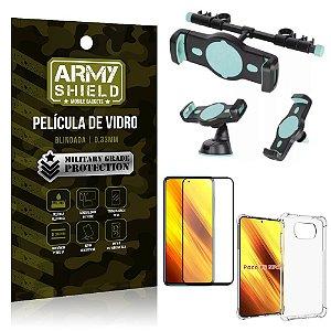 Kit Poco X3 Suporte Veicular 3 em 1 + Película 3D + Capa Anti Impacto - Armyshield