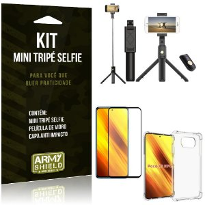 Kit Poco X3 Mini Tripé Selfie Bluetooth para + Capa Anti Impacto + Película 3D - Armyshield