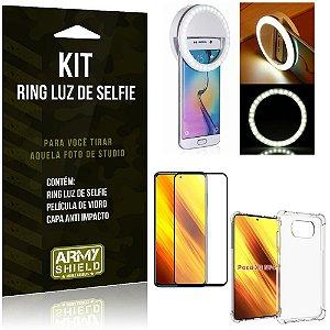 Kit Poco X3 Flash Ring + Capa Anti Impacto + Película de Vidro 3D - Armyshield