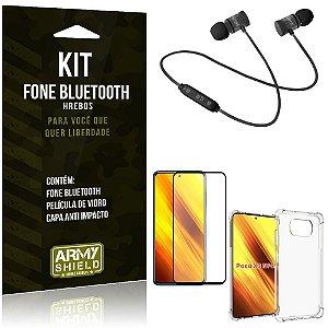 Kit Poco X3 Fone Bluetooth KD901 + Capa Anti Impacto + Película Vidro 3D - Armyshield