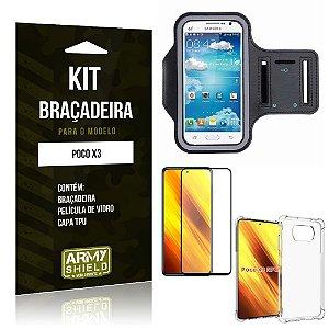 Kit Poco X3 Braçadeira + Capinha Anti Impacto + Película de Vidro 3D - Armyshield