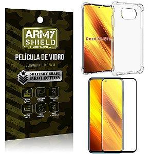 Kit Poco X3 Capinha Anti Impacto + Película de Vidro 3D - Armyshield